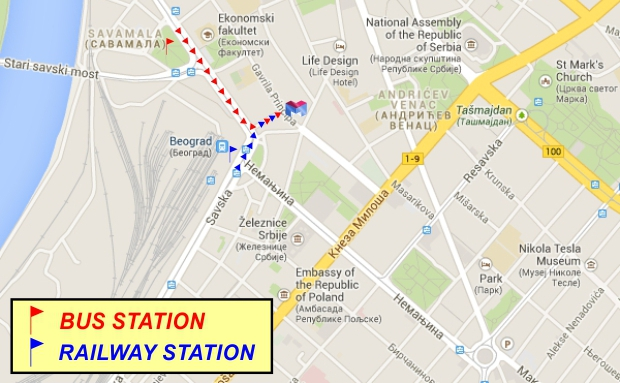 The path of the Bus and Railway station to Belgrade Hostel M
